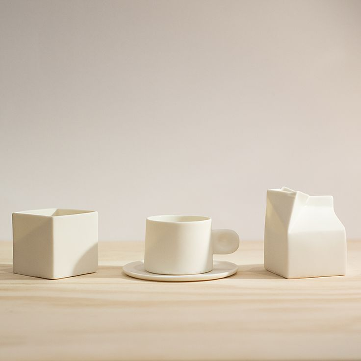 Sugar box, cup/saucer and milk jug.  Made from porcelain by Jatta Lavi.  Available in store and online.