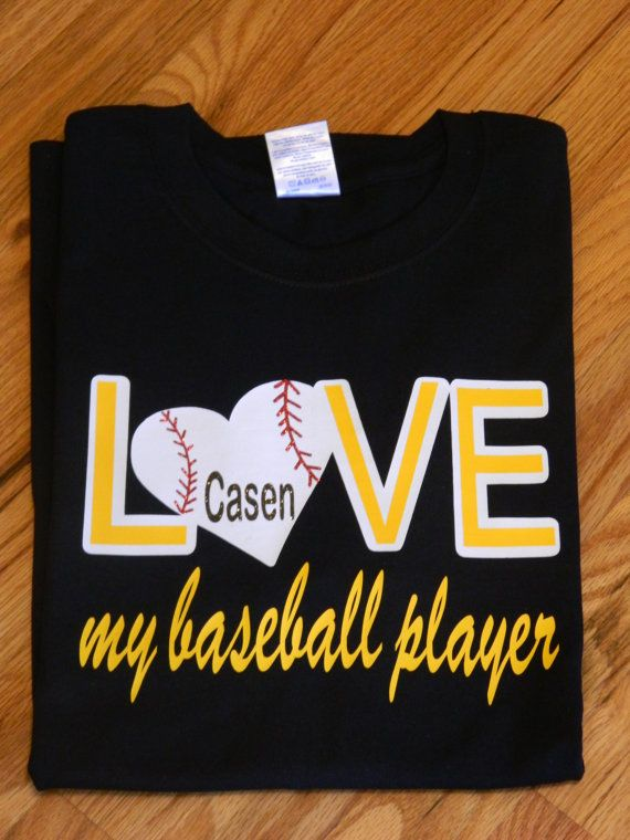 Love My Baseball Player T-Shirts - Baseball Heart, Softball Heart - Great for Moms, Siblings, Grandparents on Etsy, $23.95