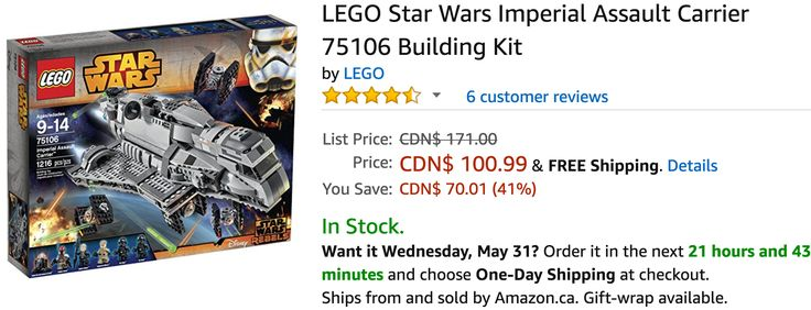 Amazon Canada Deals: Save 41% on LEGO Star Wars Imperial Assault Carrier Building Kit 23% on LEGO Creator Treeh... http://www.lavahotdeals.com/ca/cheap/amazon-canada-deals-save-41-lego-star-wars/206591?utm_source=pinterest&utm_medium=rss&utm_campaign=at_lavahotdeals