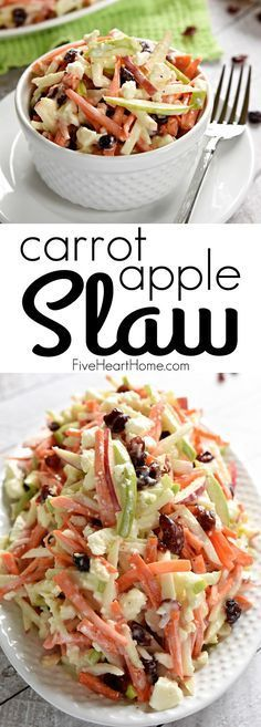 Carrot Apple Slaw ~ with crunchy carrots, sweet and tart apples, dried cranberries, salty feta cheese, and a creamy dressing, this salad is a refreshingly sweet and savory side dish for summer! | http://FiveHeartHome.com