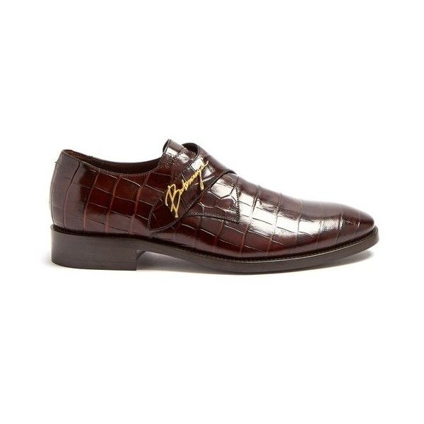 Balenciaga Crocodile-effect leather derby shoes (28,040 THB) ❤ liked on Polyvore featuring men's fashion, men's shoes, men's oxfords, brown, shoes, balenciaga mens shoes, mens crocodile shoes, mens leather shoes, mens brown shoes and crocs mens shoes