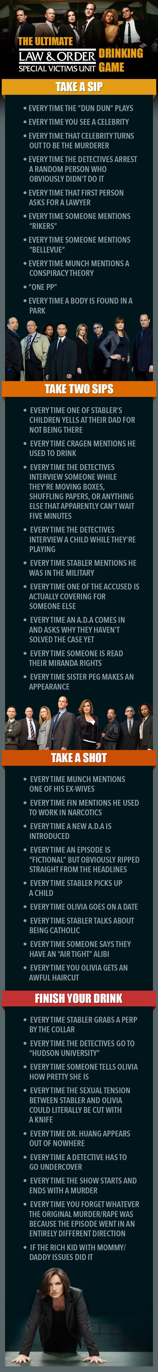 "The Ultimate ""Law & Order: SVU"" Drinking Game. Say goodbye to your liver."
