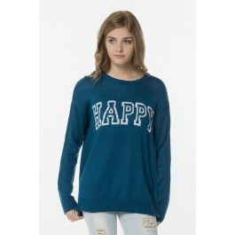 Amazon blue Happy knit sweater