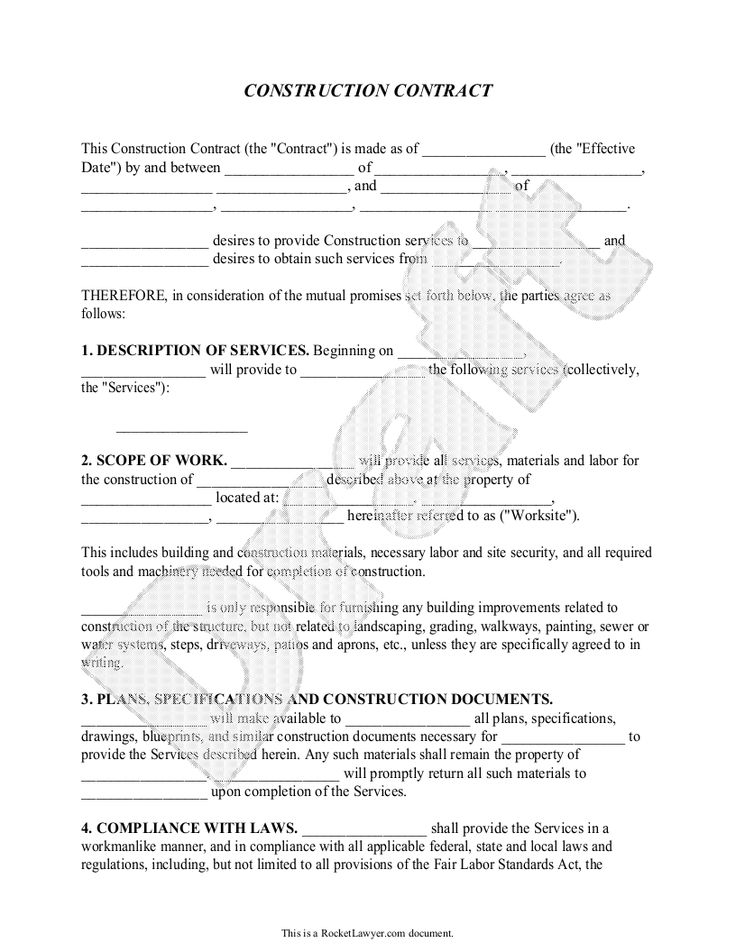 Construction contract template construction agreement for Professional organizer contract template