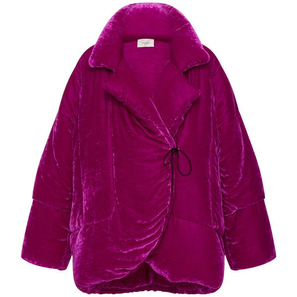 Isa Arfen Velvet Puffa Jacket ($1,670) ❤ liked on Polyvore featuring outerwear, jackets, pink, puffy down jacket, purple jacket, purple down jacket, puffa jacket and cropped puffer jacket