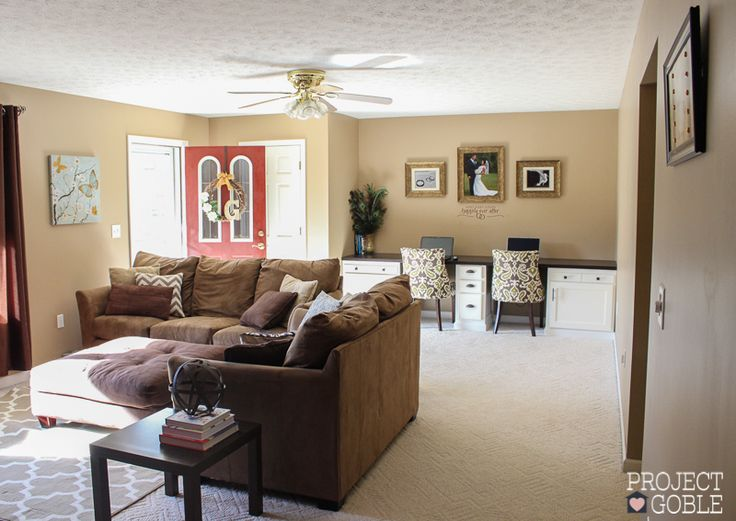 Neutral Colored Living Room With Beige Couch, Faint Maple Walls, Burgundy  Accent Wall U0026