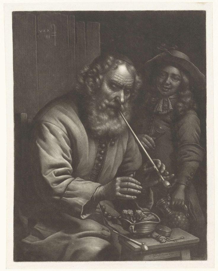 Rokende oude man warmt zijn handen, Wallerant Vaillant, 1658 - 1677