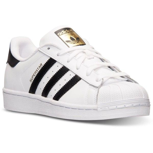 adidas Women's Superstar Casual Sneakers from Finish Line ($80) found on Polyvore featuring shoes, sneakers, retro shoes, white shoes, adidas, adidas footwear and adidas sneakers