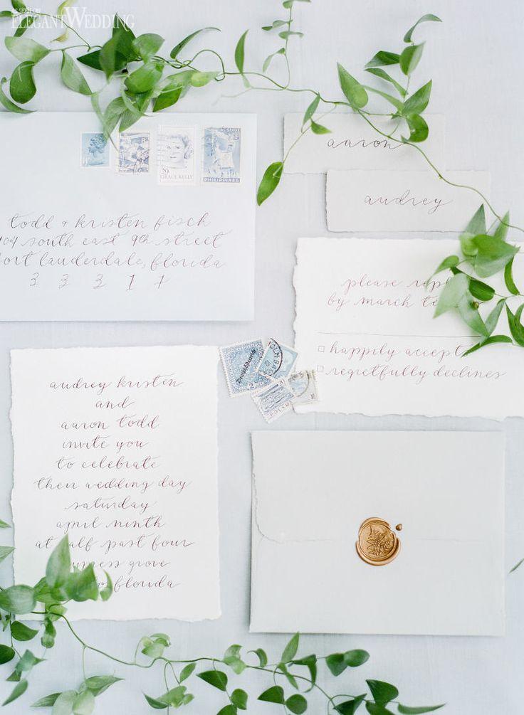 Boho wedding invitations, garden wedding stationery, fresh invitations, calligraphy wedding invitations! FRESH BOHEMIAN GARDEN WEDDING IDEAS www.elegantwedding.ca