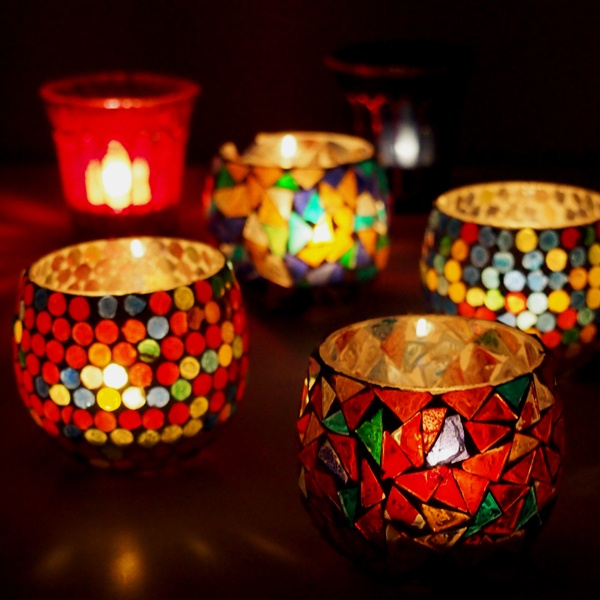 Mosaic Candle Holder, Dot Candle Holder- Christmas gift ideas :)