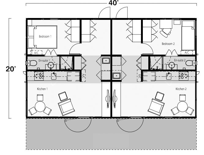 Coodo Haus Two Bedroom, Two Bath Shipping Container Home Floor Plan