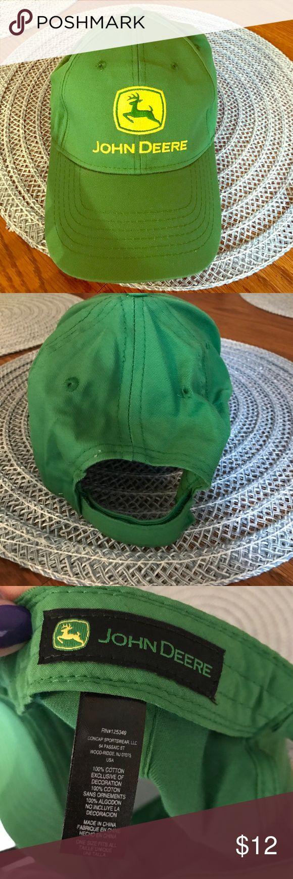 John Deere Adjustable Hat Green John Deere Adjustable Hat with Yellow Emblem. 100% Cotton. Never Been Worn. John Deere Accessories Hats