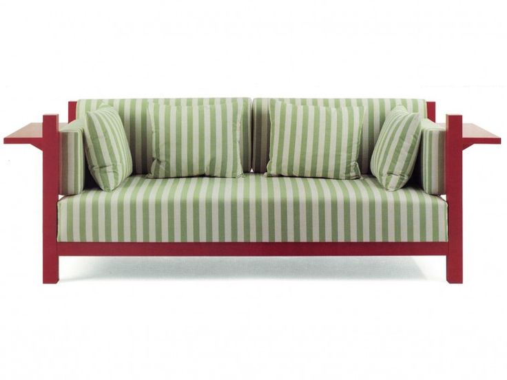 Furniture. green striped fabric sofa with red wooden arms ...