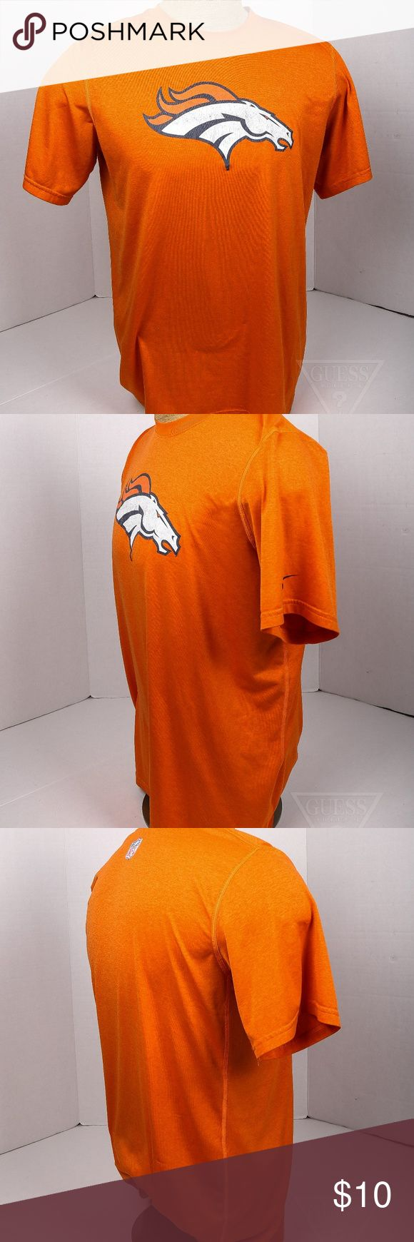 Men's L Orange Dri Fit Denver Broncos t shirt Men's L Orange Dri Fit Denver Broncos t shirt. Logos have some wear and fade. priced accordingly. NFL Shirts Tees - Short Sleeve