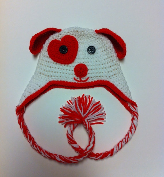 Valentine Puppy Hat in Crochet by BecauseILove2 on Etsy, $19.99