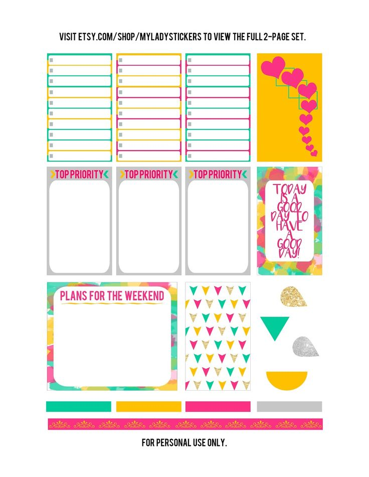 His Wife. Their Mommy.: Free Happy Planner Printable! {Yellow, Pink, Turquoise}