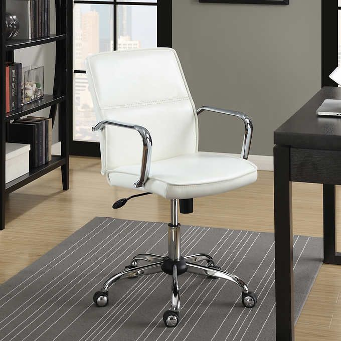 Esteem White Mid Back Office Chair 94 99 From Costco Ca Chair Office Chair Chairs For Sale