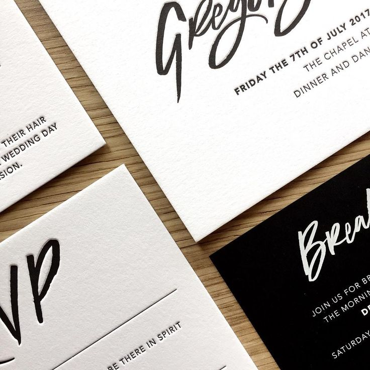 1 colour letterpress on lucious 600gsm bright white cotton paper -  wedding invitations, black and white (@bettertogetherpaper)