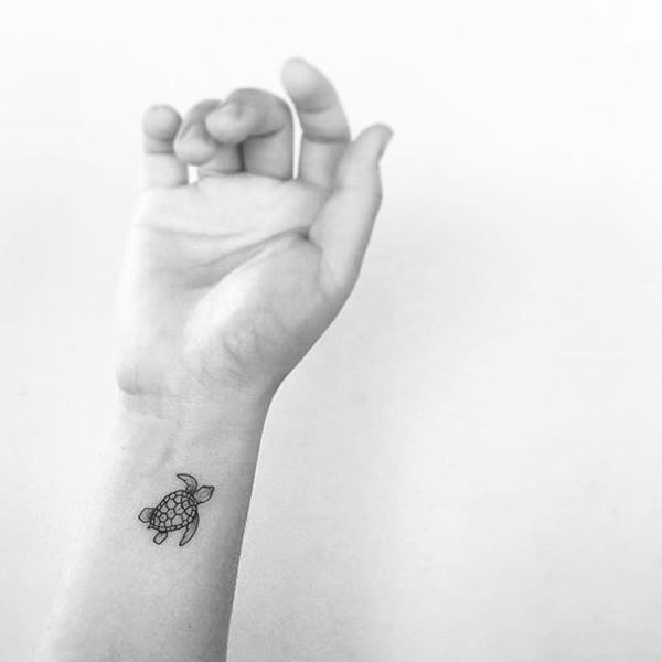 Delicate Small Baby Turtle Tattoo on the Wrist