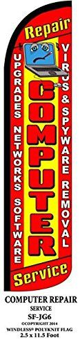 Computer Repair Service Windless Swooper Feather Banner Flag Sign