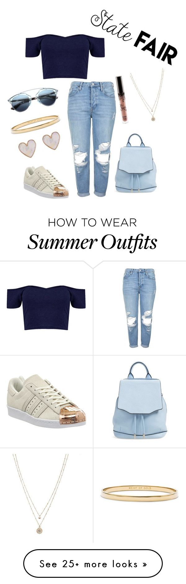 """the simple casual and easy state fair outfit"" by fashionlandfb on Polyvore featuring Topshop, rag & bone, adidas, Christian Dior, Kate Spade, LC Lauren Conrad, New Look, statefair and summerdate"