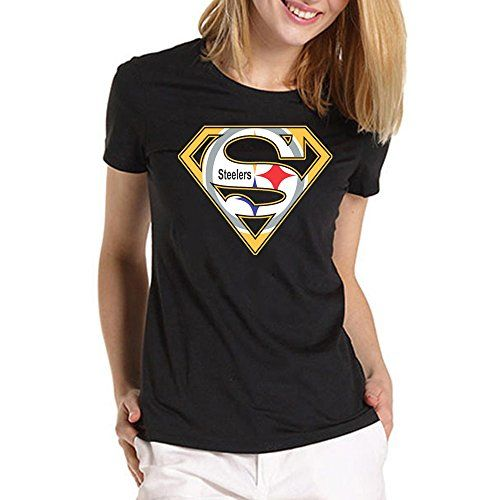 Steelers Inspired Superman for Large Black women T shirt…