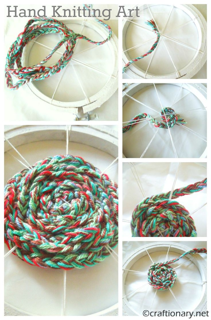 hand knitted embroidery hoop wall art diy