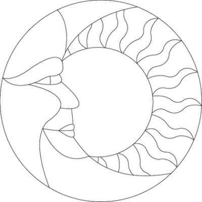 stained glass sun moon pattern