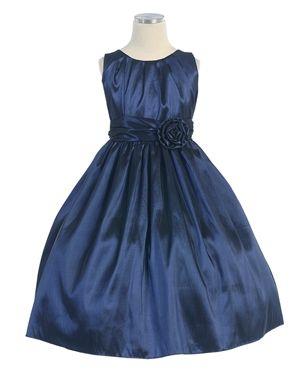 pleated solid taffeta dress