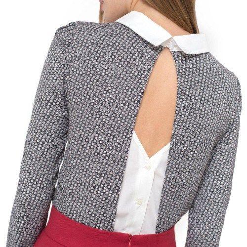 Μακρυμάνικη μπλούζα με γιακά και ανοιχτή πλάτη