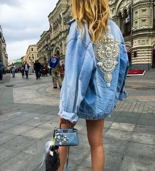 Oversized pearl embellished jacket                              …