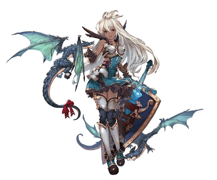 1girl armor armored_boots boots dark_skin dragon dress gloves granblue_fantasy long_hair looking_at_viewer minaba_hideo open_mouth red_eyes shield short_dress simple_background sleeveless smile standing sword the_order_grande thighhighs transparent_background weapon white_hair zettai_ryouiki