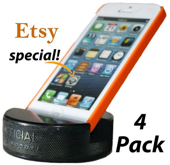 Hockey Puck Cell Phone Holder Indestructible by PuckUps on Etsy