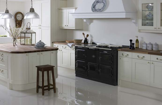 The 4 Oven Aga Cooker In Pewter As Part Of A Contemporary White Kitchen Aga Traditional