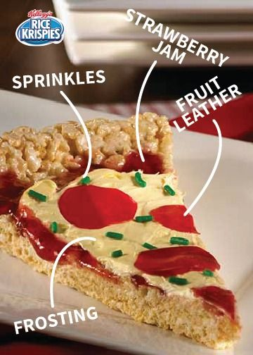 At a pizza party or birthday party, this fun Rice Krispies Treats® idea is the perfect dessert to end the night with. The kids will have a blast exercising their creativity by decorating their pie slice with icing, sprinkles, candy, and whatever other sweet snacks you have lying around the house.