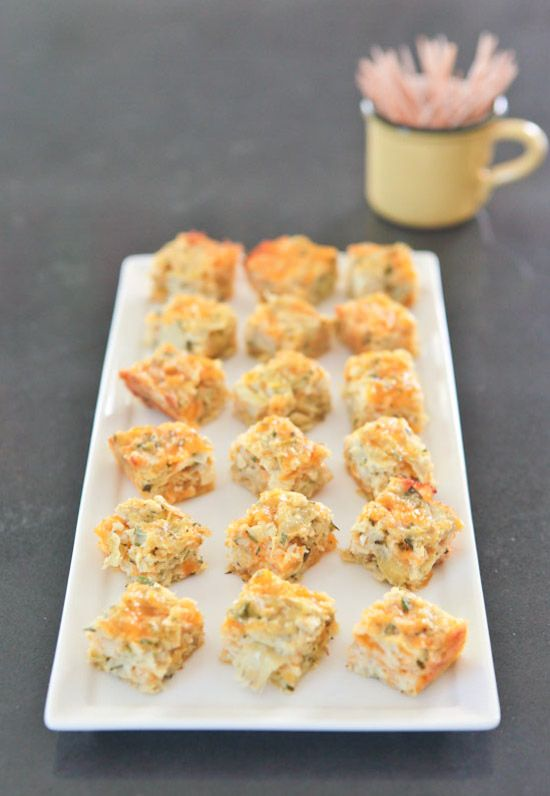 Artichoke Cheddar Squares are an easy and delicious classic appetizer made with canned artichoke hearts and shredded cheddar cheese. pinchmysalt.com