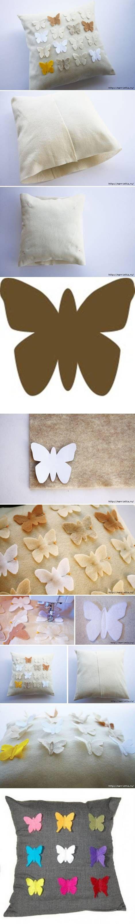 DIY Butterfly Pillow Cover Zelf maken? Kijk voor vilt eens op http://www.bijviltenzo.nl