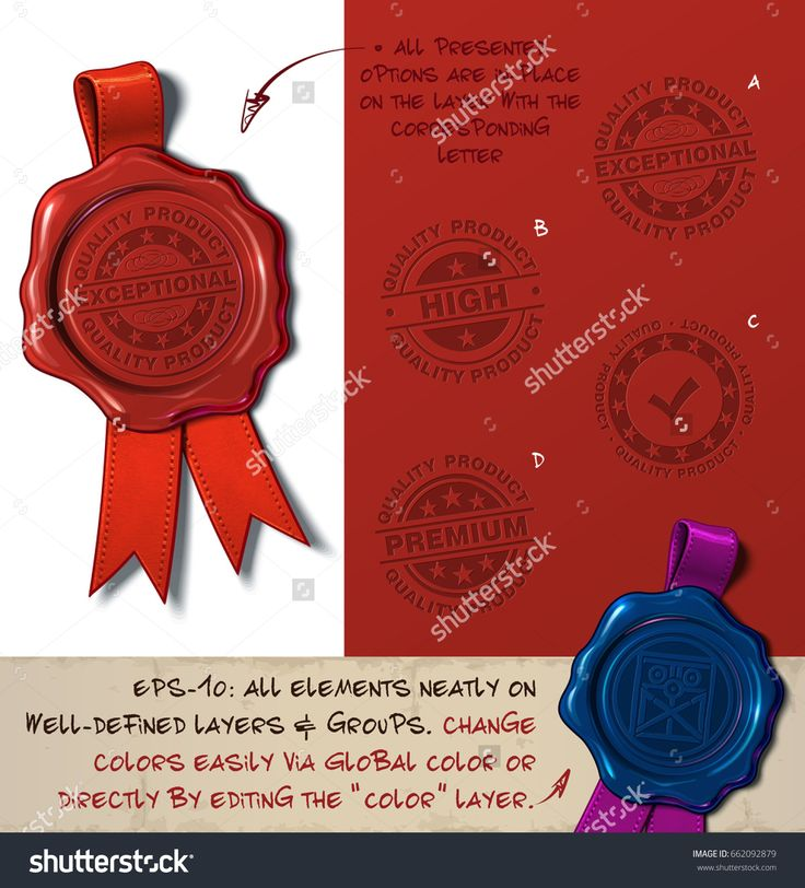 Vector Illustration of a wax seal with a set of stamps regarding Quality Product subjects. All design elements neatly on well-defined layers and groups