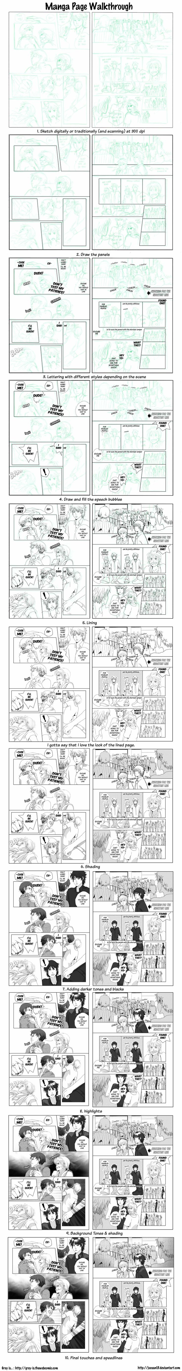 Manga Page Process by =deeJuusan on deviantART