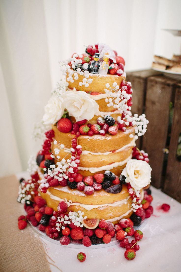 Naked Cake Layer Sponge Fruit Flowers Icing Lego Toppers Quaint Home Made Farm Big Party Wedding http://www.emmacasephotography.com/