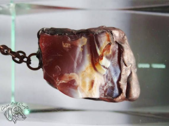 Unique natural raw red jasper two-sides necklace