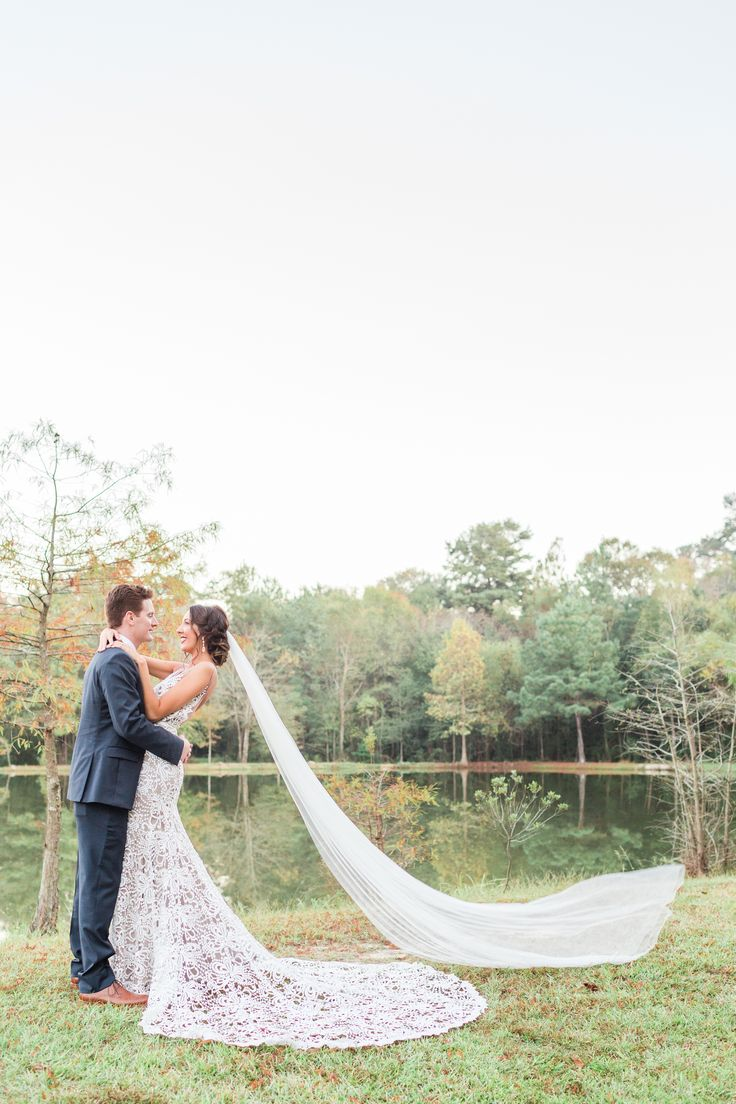 Cedar Post Barn Wedding | Navy Groom Suit | Thick Lace Sheer Fitted Mermaid Wedding Dress | Made With Love Bridal Australia | Long Veil | Bridal Updo Hairstyle | The Lees Photography | Wedding and Engagement Photography | Baton Rouge, Louisiana