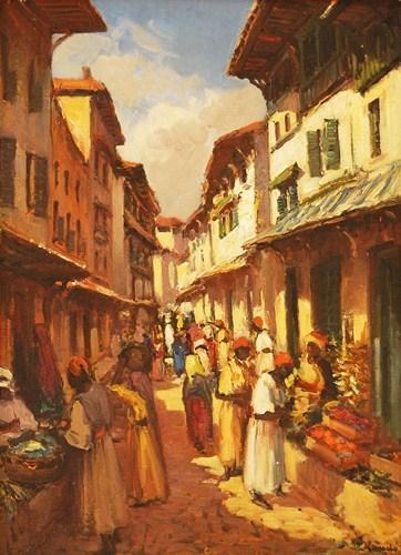 Graham's Fine Art Gallery - market street scene zanzibar - pieter Hugo naude