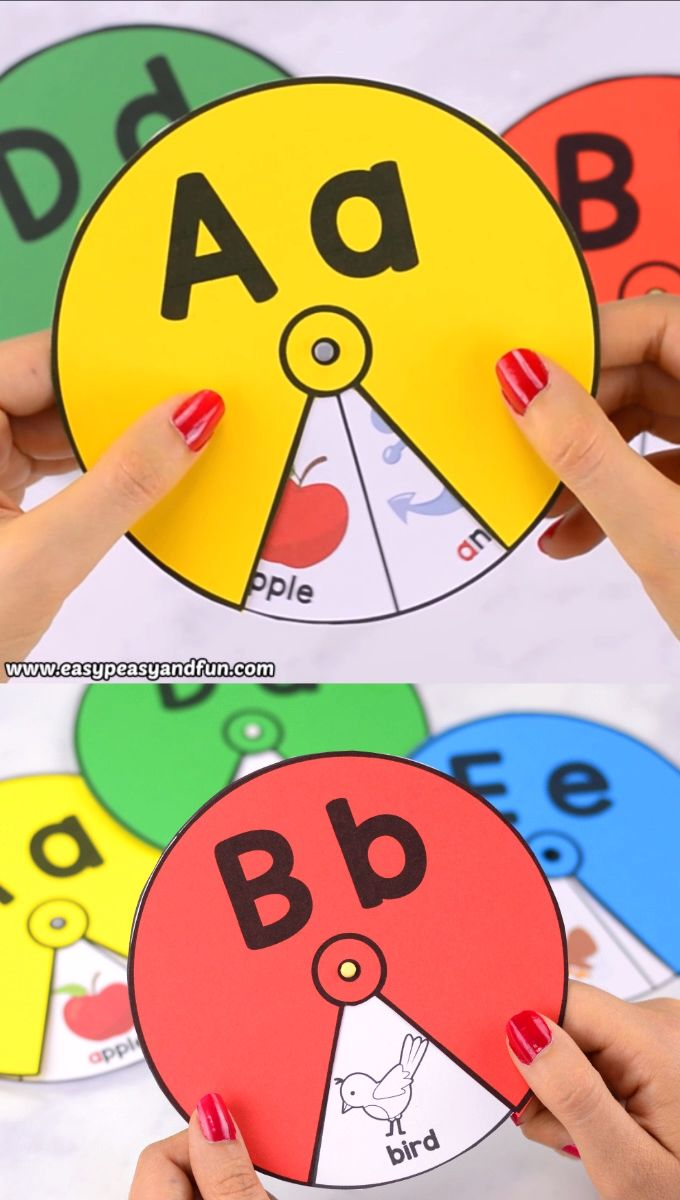 Printable Alphabet Spinners – fun alphabet activity for kids