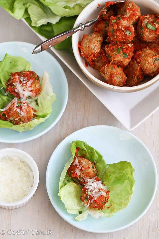 Baked Turkey, Quinoa, and Zucchini Meatballs in Lettuce Wraps   23 Super Satisfying Low-Carb Dinners