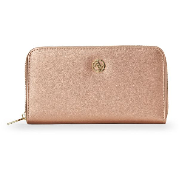 Adrienne Vittadini Rose Gold Zippered Phone Wallet (89030 PYG) ❤ liked on Polyvore featuring bags, wallets, red, red bag, zipper bag, rose gold wallet, zip close bags and red zip around wallet
