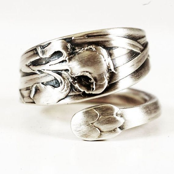 Spectacular Iris Ring Iris Flower Ring Sterling Silver Spoon Ring by Spoonier