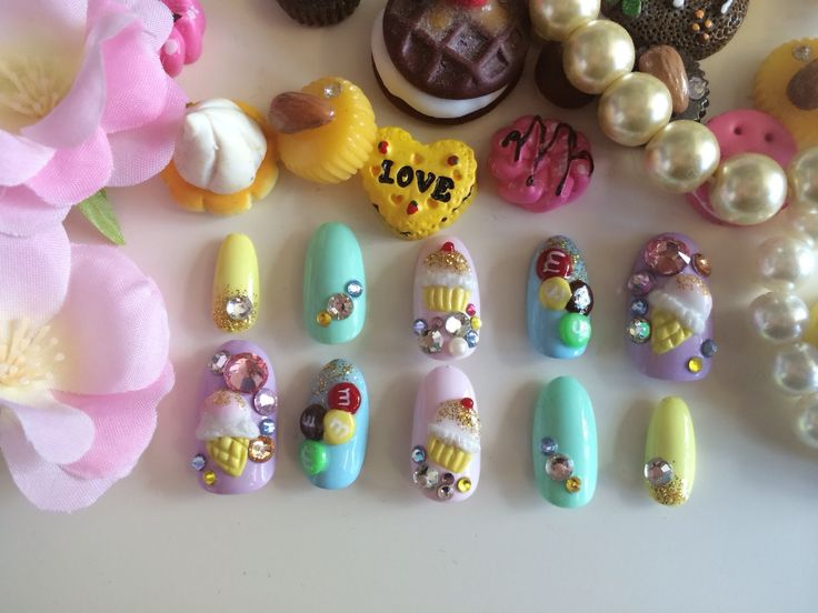 173 best nails tutorial images on pinterest nail tutorials japanese 3d nail art tutorial ice cream prinsesfo Choice Image