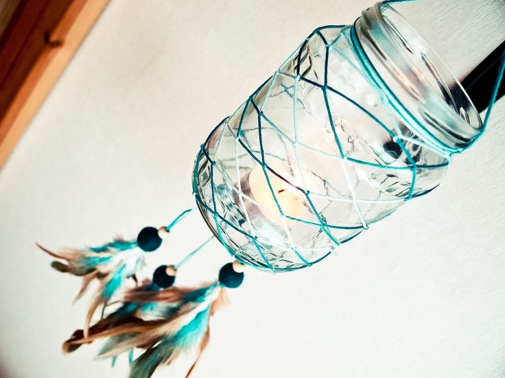 Glass Dream Catcher - Blue Sunset - Dream Catcher with Glass, Blue and Brown Feathers, Blue Nett - Home Decor, Mobile, Candelabrum. $26.00, via Etsy.