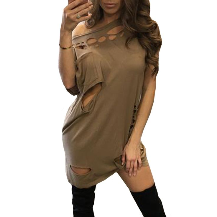 YJSFG HOUSE Women 2017 Short Sleeve Hollow Out Party Dresses Sexy Black Brown Spring Summer Holes Mini Club Dress Beach Vestidos